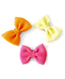 Knotty Ribbons Set Of Three Handmade Bow Hair Clips - Orange Pink & Yellow