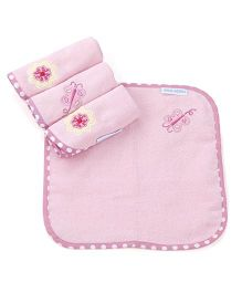 Abracadabra Floral Design Print Face Towels Pink - Set Of 4