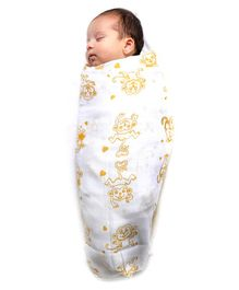 Kaarpas Premium Organic Cotton Muslin Medium Swaddle Monkey