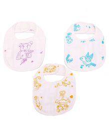 Karpaas Premium Organic Cotton Muslin Small Bib Pack of 3 Adorable Animals