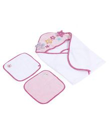 Abracadabra Star Applique Hooded Towel With Face Towel - Pink White