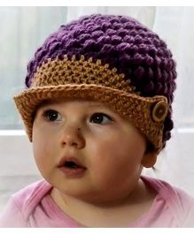 Love Crochet Art Crochet Woolen Cap For Baby Boy - Purple