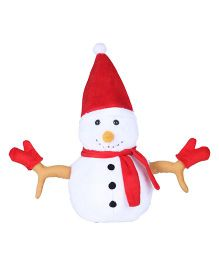 Ultra Christmas Snowman Soft Plush Stuffed Toy White Red - Height 33 cm
