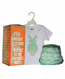 Bumchum Hybrid Diaper Cover & Washable Insert With Matching T-Shirt Bonnie - White & Green