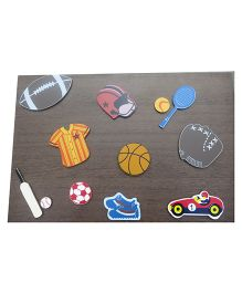 Kidoz Wooden Sports Wall Decor Pack Of 5 - Multi Color