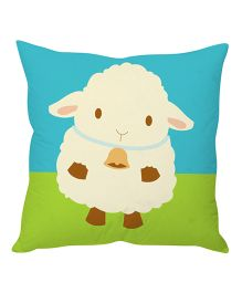 Stybuzz Sheep Cartoon Cushion Cover - Green And Blue