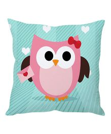 Stybuzz Owl Cartoon Cushion Cover - Blue And Pink