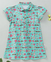 Little Fairy Ice Cream & Food Print Top - Green