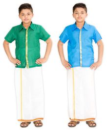 Kutti Baba 2 Shirts & 1 Lungi Set With Placket & Border - Blue & Green