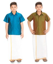 Kutti Baba 2 Shirts & 1 Lungi Set - Blue & Green