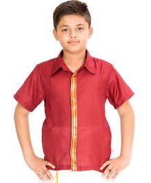 Kutti Baba Boys Ocassional Shirt With Golden Placket - Maroon