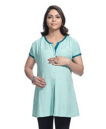 Kriti Half Sleeves Printed Maternity Kurta - Light  Green