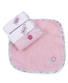 Abracadabra Butterfly Design Face Print Face Towels Set Of 4 - Pink White
