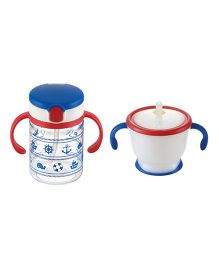 Richell Twin Handle Sipper Cup With Strwa Mug Blue And Red - 150 ml