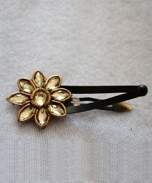Pretty Ponytails Zardozi Flower Crystal Antique Look Clip - Golden
