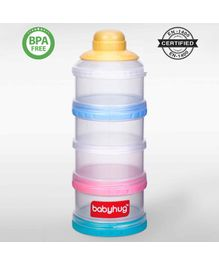 Babyhug Milk Powder Container 4 Racks 75 ml each - Blue Pink Yellow