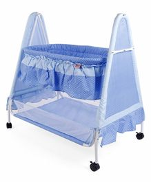 Babyhug Angel Dreams Cradle With Storage Basket & Mosquito Net - Blue