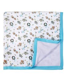 My Milestones Muslin Blanket 3 Layered - Zoo print Blue