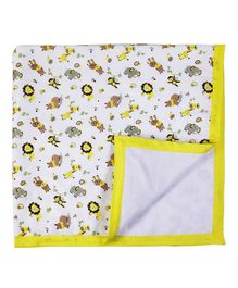 My Milestones Muslin Blanket 3 Layered - Zoo print Lemon Yellow
