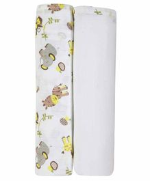 My Milestones 3 in 1 Muslin Swaddle Wrapper Pack of 2 - Zoo print Lemon Yellow White