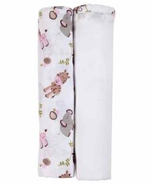 My Milestones 3 in 1 Muslin Swaddle Wrapper Pack of 2 - Zoo print Pink White