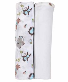 My Milestones 3 in 1 Muslin Swaddle Wrapper Pack of 2 - Zoo print Blue White