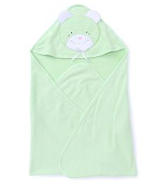 Child World Solid Color Teddy Patch Hooded Towel - Green