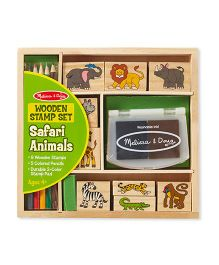 Melissa & Doug Safari Animals Wooden Stamp Set - Multi Color