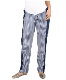 9teenAGAIN Maternity Striped Leisure Pants - Blue