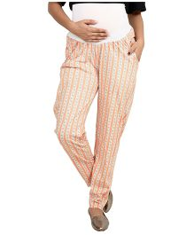 9teen Again Printed Maternity Trouser - Beige