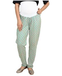 9teen Again Printed Maternity Trouser - Green