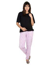 9teenAGAIN Printed Imported Elastic Maternity Trouser - Purple