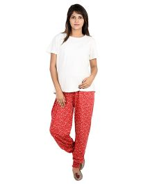 9teenAGAIN Printed Maternity Imported Soft Elastic Trouser - Red