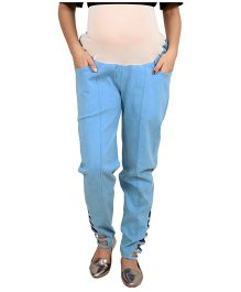 9teenAGAIN Solid Maternity Trouser  Exremely Soft Imported Elastic - Blue