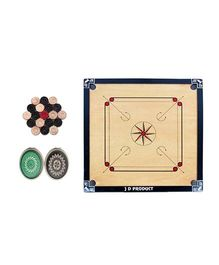 JD Sports Wooden Carrom Board With Coins - Cream And Black