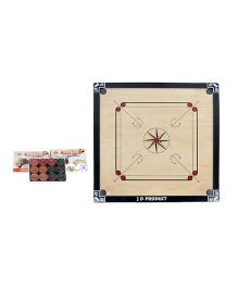 JD Sports Wooden Carrom Board Full Size With Coins - Cream And Black