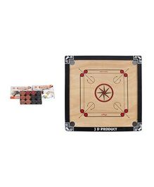 JD Sports Wooden Carrom Board Medium With Coins - Cream And Black