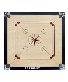 JD Sports Wooden Carrom Board - Cream And Black