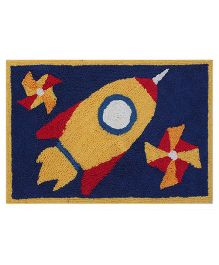 Saral Home Bath Mat Rocket Design - Deep Blue