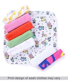 Babyhug Knit Wash Cloth Pack of 8 - Multicolour