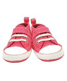 Playette Aria Polka Dot Canvas High Top Shoes - Pink