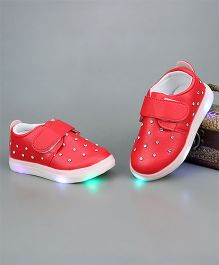Little Maira Double Velcro Diamond Shoes - Cherry Red