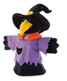 Trudi Hand Puppet Crow Witch Black Purple - 30 cm