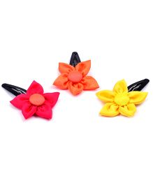 Knotty Ribbons Set Of Three Handmade Flower Hair Clips - Pink Orange & Yellow