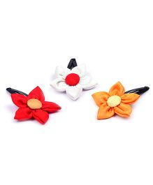 Knotty Ribbons Set Of Three Handmade Flower Hair Clips - Red White & Mustard