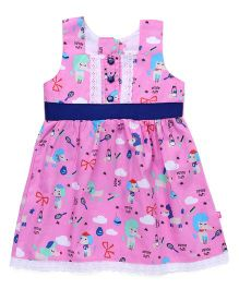 Chocopie Sleeveless Frock Flower Print - Pink & Blue