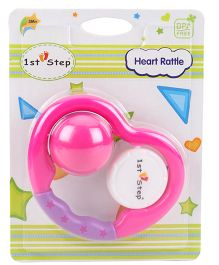 1st Step Heart Rattle - Pink Purple