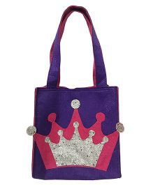 Li'll Pumpkins Crown Applique Felt Tote Bag - Purple
