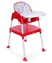 LuvLap 3 in 1 Covertible Baby High Chair With Cushion - Red