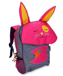 My Milestones Toddler Backpack Rabbit Grey Pink - 13 Inches